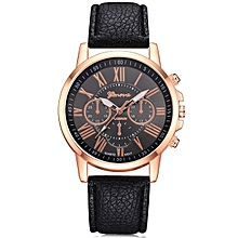 Geneva XR740 Women Simple Analog Quartz PU Leather Wrist Watch - BLACK
