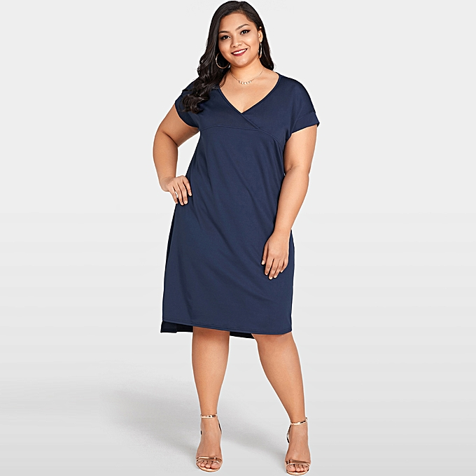 Women Summer Plus Size Dress Deep V Neck Solid Casual Loose Vestidos Dress  Dark Blue