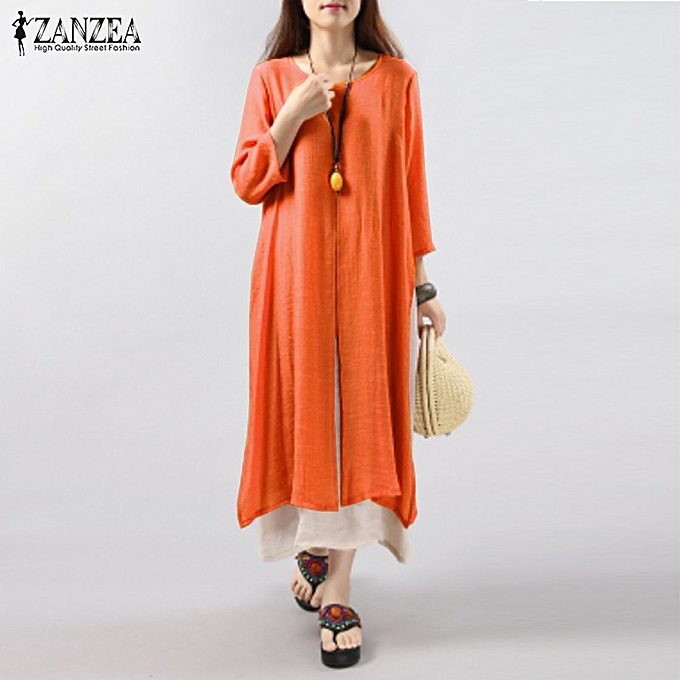 6 Colors ZANZEA Women Vintage Cotton Linen Dress Casual Loose 3 4 Sleeve  Long Maxi 608b797d7