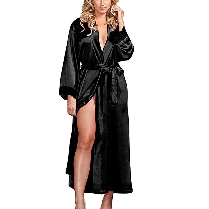 d726f0b526 Women Sexy Long Silk Kimono Dressing Gown Babydoll Lace Lingerie Bath Robe