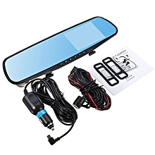 OR 4-Inch Display 1080P HD Dual Lens Car DVR Portable Dash Camera Reverse Mirror Black&blue