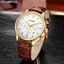 Technologg Watch  New CUENA Fashion Men Casual Checkers Faux Leather Quartz Analog Wrist Watch-As Show