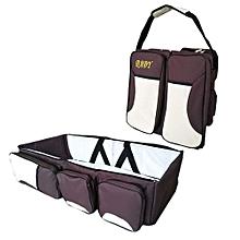 4 in1 Foldable Diaper Bag, Bassinet, travel bag And Change Station- Brown