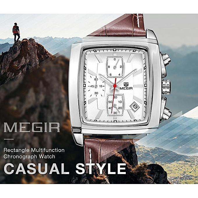 Megir Megir Watch Men Quartz Military Watches Genuine Leather Dress