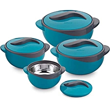 Set of 4 Parisa Thermo Dish Hot or Cold Casserole Serving Bowls with Lids Solid blue