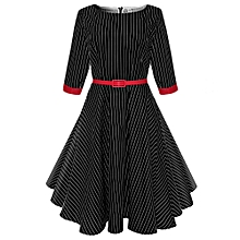 Vintage Stripe Swing Dress with Belt - Black