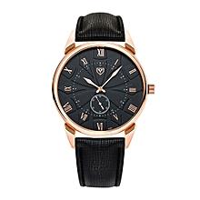 451 Men Fashion Business PU Leather Band Quartz Wrist Watch, Luminous Points, Black Dial(Black)