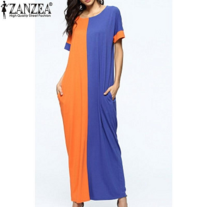 4495174b9af4b 4 Colors ZANZEA Womens Summer Oversized Short Sleeve Casual Loose Kaftan  Maxi Long Dress Vestido Plus