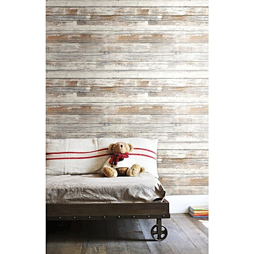 RoomMates Decor Distressed Wood Peel and Stick Wallpaper