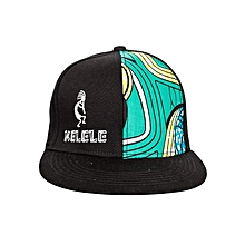 Black And Cyan Snapback Hat With Kelele Color On Panel
