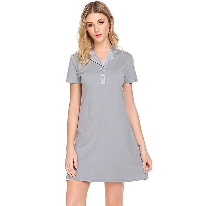 c6badaf51923 Women Turn-Down Collar Solid Basic T-Shirt Night Dress