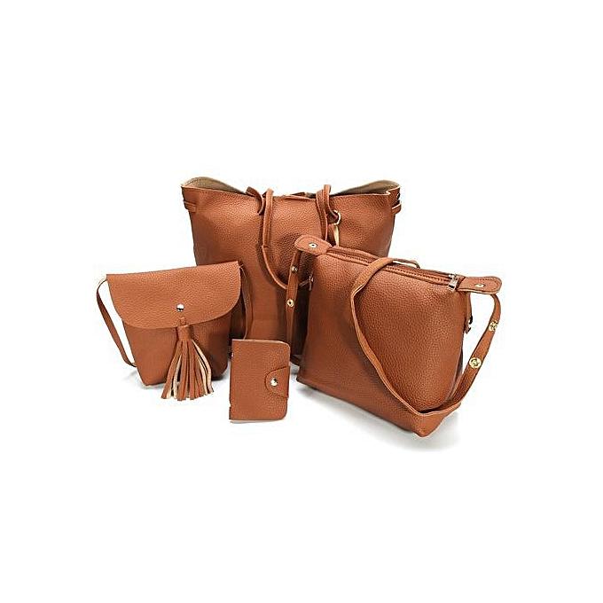 451f152ece 4pcs Women PU Leather Handbag Shoulder Bag Tote Purse Messenger Satchel  Clutch Brown
