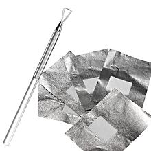 Stainless Steel Nail Polish Pusher Remover + 50Pcs Aluminous Foil Soak UV GEL Cleaner Tool