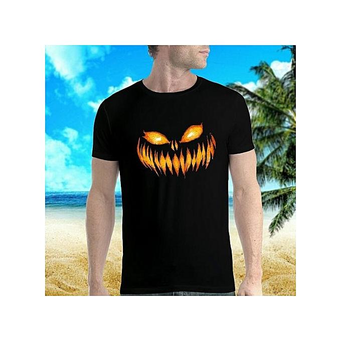 52bb449b94 Scary Pumpkin Halloween Hot Sale Printed O-neck Short Sleeve T-shirt Cotton  Funny
