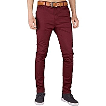 Mens FashionPlus Chinos Trouser Pant - Maroon - Stretch Slim Fit+free pair of socks