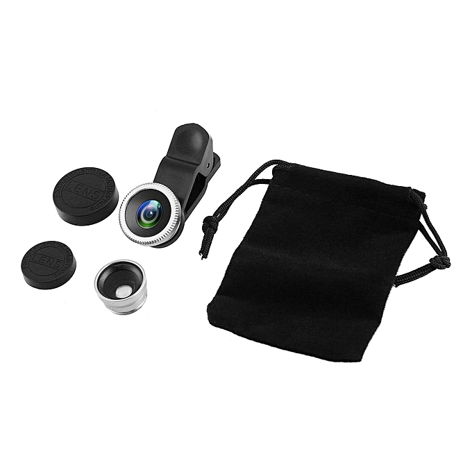 OR 3 in 1 Portable Wide Angle Macro Fisheye Lens Camera Universal for Phones-Silver