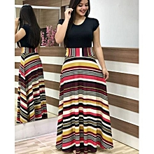 77ad105d08f Explosive version of European and American style flower print color  matching dress long skirt women