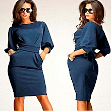 Women Working Half Sleeve O-Neck Sheath Casual Office Slim Dress D BU/S -Dark blue/S