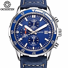 OCHSTIN Chronograph Men Watch New Mens Top Brand Luxury Military Sport Male Clock Genuine Leather Date Business Clocks Gift GQ044A