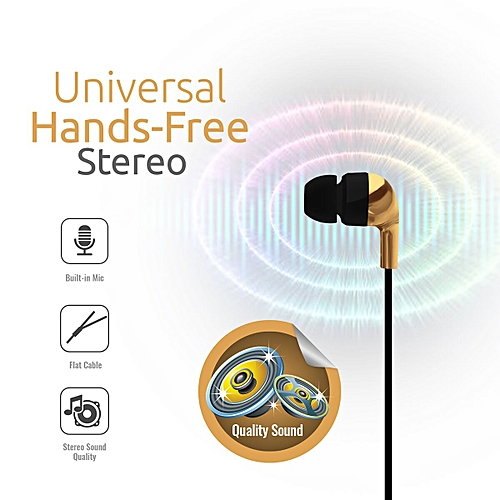 CHROME:Gold Metallic Multifunction Stereo Headphones With inbuilt Microphone