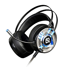 3.5mm Stereo Gaming Headset On Ear Headphones with Flexible Microphone Noise Canceling Colorful LED Lights Volume Control for Laptop Notebook PC