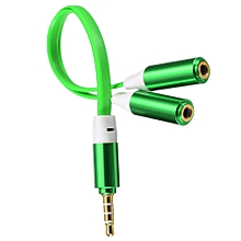 3.5mm Male To 2 Dual Female Jack Splitter Headphone Y Audio Adapter Mp3 Cable (Green)