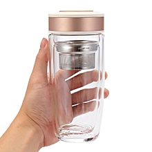 ONEISAL BPA-Free Double Wall Glass Water Bottle Travel Mug with Tea Infuser 13oz