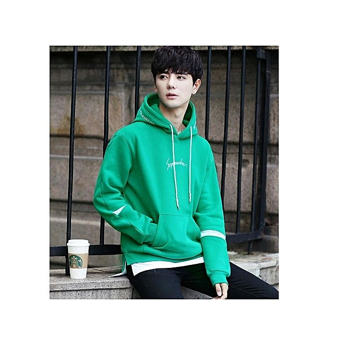 Fashion GREEN Spring And Autumn Korean Version Of The Long-sleeved Leisure  Hooded Sweater Men s Youth Tide Loose Lovers Fitted Women s Sports JacketL c6666972ee6e8
