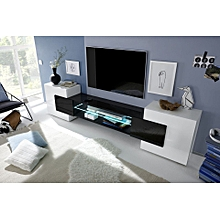 Incastro Low TV Stand - Nero Lucido - High Gloss Finish Black and White