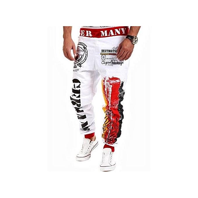 bbfd77751b 2016 New Winter Casual Mens Joggers Pants Brand High Quality Harem Hip Hop  Letter Print Pants Men Dance Fitness Sweatpants(White)