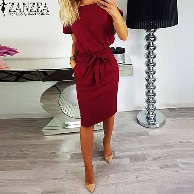 d507f613ed6 ZANZEA Women Casual Bow Tie Midi Sundress Plus Size Office Club Party Dress