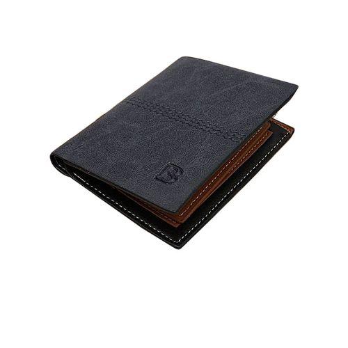 GENUINE Leather Men's Wallet Business Credit Card Money Holder Purse Bifold Gift Blue - Blue