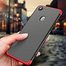 OPPO F7 Case, 3 in 1 Detachable Anti-Scratch PC Hard Case (Black,Red)