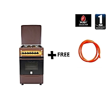 Free Standing Cooker, 4 Gas Burners, Electric Oven, 50 X 55 With Free Gas Pipe, MST55PI4GDB/HC - Brown