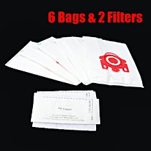 6 Bags 2 Filter Fits Miele Vacuum Cleaner S5310 S5311 + SBB S5320 S5321 S5360
