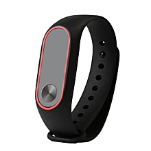 CO Replacement Wrist Strap With Two Color TPU Wristband for XIAOMI MI Band 2-black & red