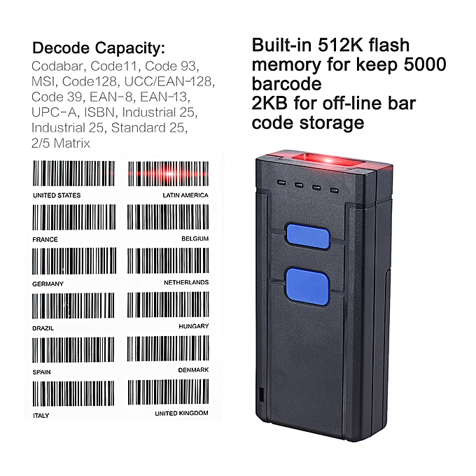 Portable Bluetooth Wireless 1D Barcode Bar Code Scanner Reader Support for  windows XP 7 0 8 0 10 system for IOS Android OS for Supermarket Library