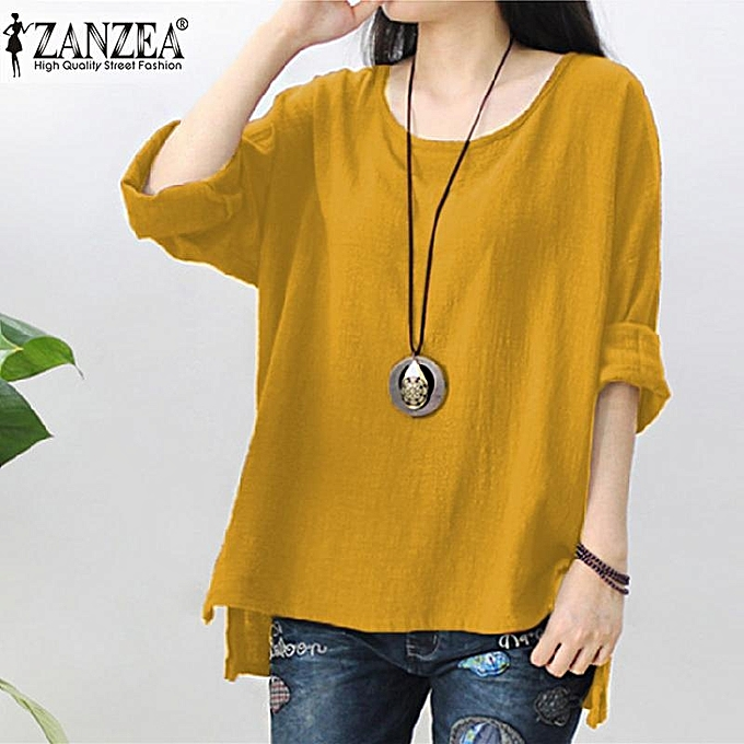 f3c384e101d066 ZANZEA Womens Retro O Neck Long Sleeve Split Baggy Cotton Linen Casual  Loose Solid Party Tops