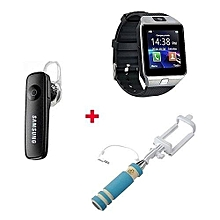 Gift Bundle Of B701 Smart Watch Phone With Free Bluetooth headset and selfie stick -  Silver Black