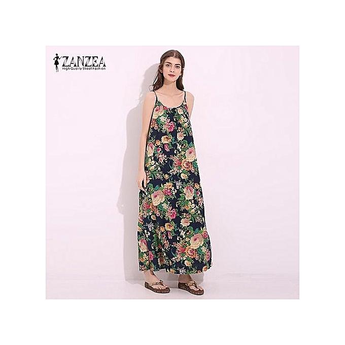 9927da6f8ce ZANZEA ZANZEA Vintage Floral Print Womens Spaghetti Strap Cotton Linen Maxi  Long Dress Summer Chinese Style Beach Party Vestido