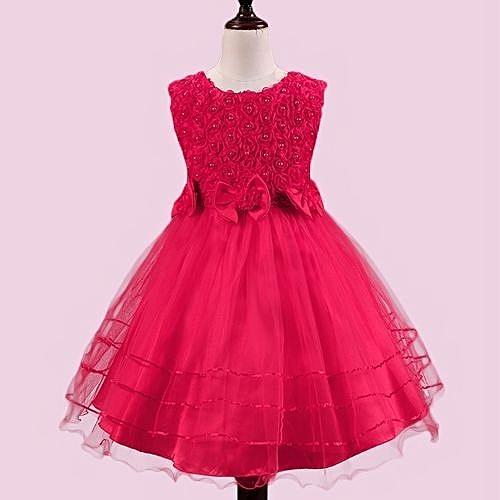 f7a15a785c0a Refined Beautiful Baby Girls Princess Dress Sleeveless Bowknot Rose Lovely  Little Girl Dress-Rose