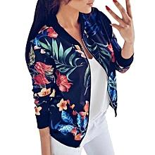 Women Ladies Printing Long Sleeve Tops Zipper Jacket Outwear Loose Tops BU/L