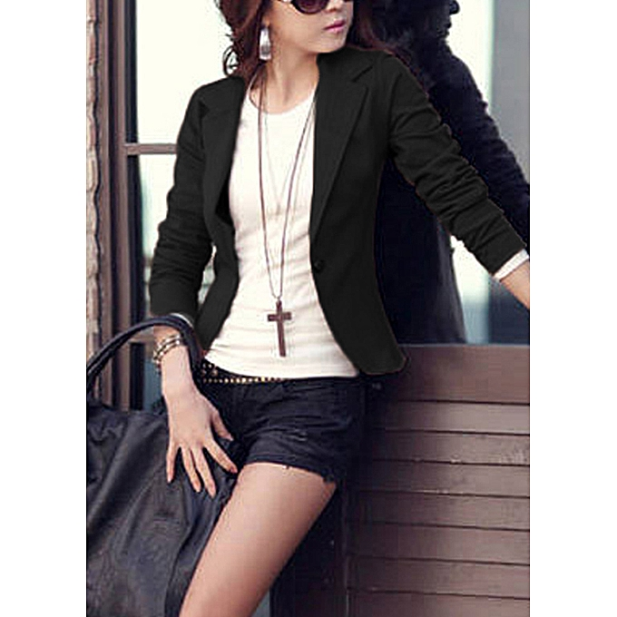 2a3f380921e ... Women One Button Business Blazer Suit Long Sleeves Office Casual  Leisure Coat Jacket Ladies Short Outwear ...