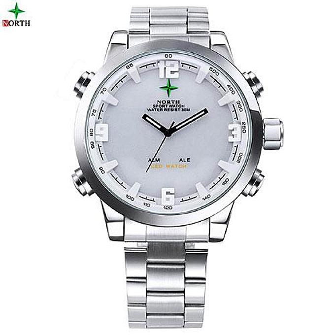 5f4ee6250e NORTH 6017MSilver Sport Watches Male Analog Digital-watch LED Stainless  Steel Waterproof Wristwatch Quartz Wrist