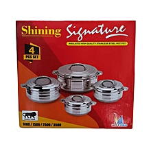 4 PCS Set Insulated Stainless Steel Hot Pots - Silver