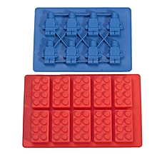 Details About Hot Lego Brick And Minifigure Silicone Jelly Chocolate Ice Cube Cake Mold Tray Blue+Red