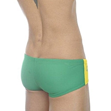 Zehui Mens Swimming Trunks Brief Tie Rope Style Swimsuit Sexy Bathing Pants Green Waist: 26`-30`