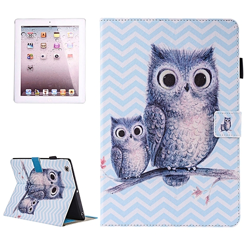 Generic For IPad 4 3 2 Painting Wave Owl Pattern Horizontal Flip Leather Case With Holder Wallet Card Slots Pen Slot Best Price