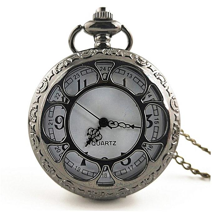 fb171450d00 Vintage Hollow Out Flower Fashion Men Women Quartz Pocket Watch with Chain  black