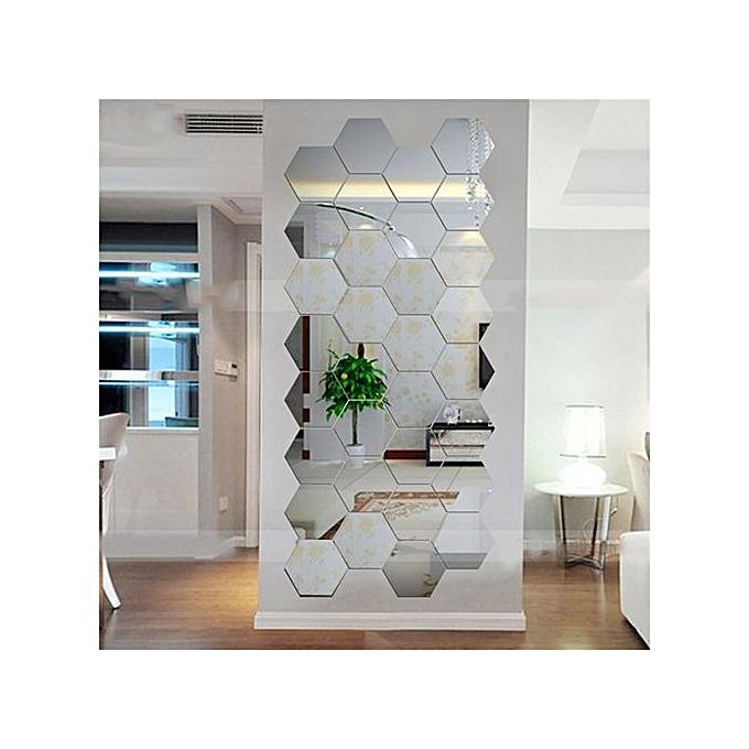 Buy Generic Hexagonal 3d Mirrors Wall Stickers Home Decor Living Room Mirror Wall Sticker Best